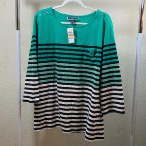 Karen Scott White/Teal Striped 3/4 Sleeve Tee 3X